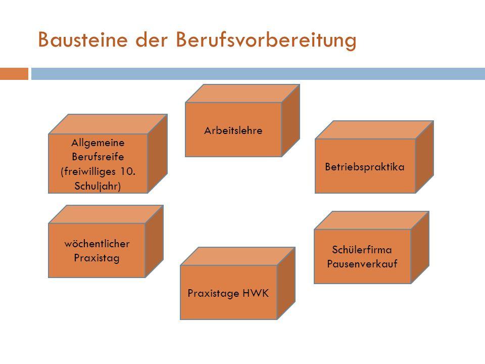 Bausteine der Berufsvorbereitung Schülerfirma Pausenverkauf Allgemeine Berufsreife (freiwilliges 10. Schuljahr) wöchentlicher Praxistag Arbeitslehre B