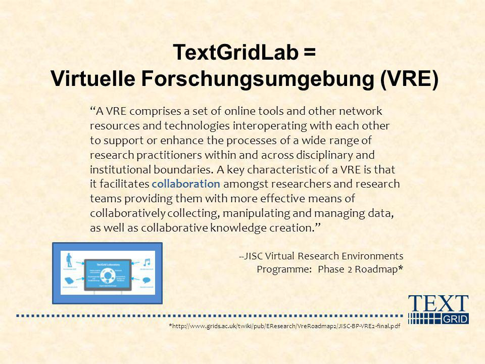 A VRE comprises a set of online tools and other network resources and technologies interoperating with each other to support or enhance the processes of a wide range of research practitioners within and across disciplinary and institutional boundaries.