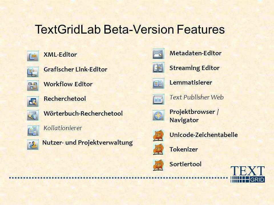 TextGridLab Beta-Version Features XML-Editor Grafischer Link-Editor Workflow Editor Recherchetool Wörterbuch-Recherchetool Kollationierer Nutzer- und