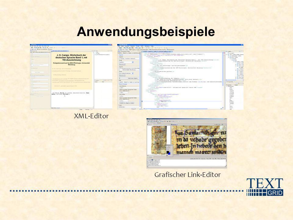 Anwendungsbeispiele Grafischer Link-Editor XML-Editor