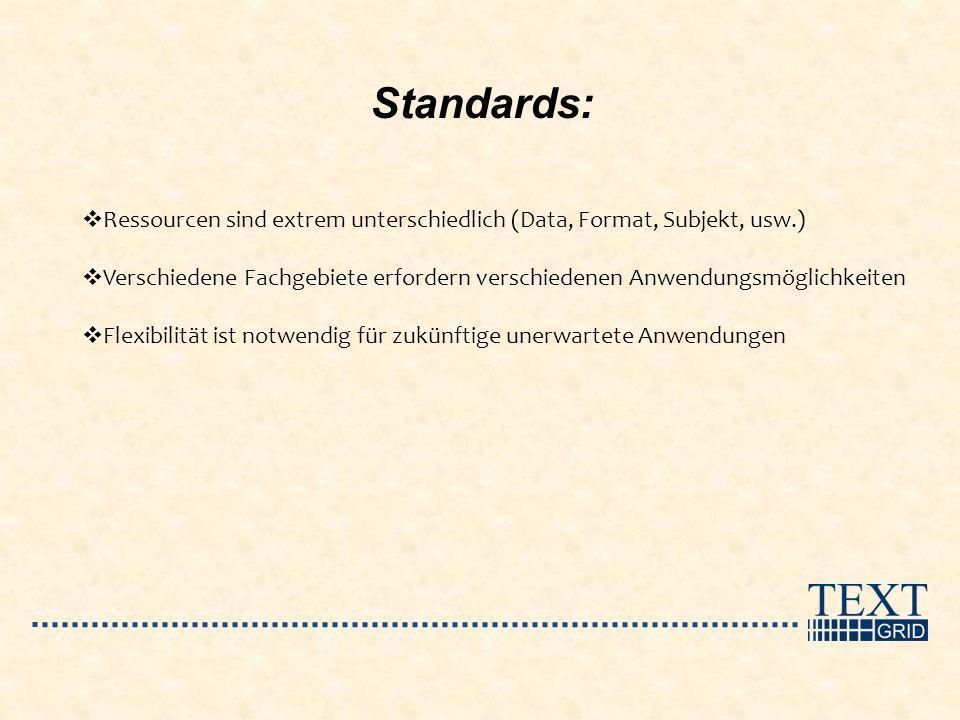 Standards: Ressourcen sind extrem unterschiedlich (Data, Format, Subjekt, usw.) Verschiedene Fachgebiete erfordern verschiedenen Anwendungsmöglichkeit