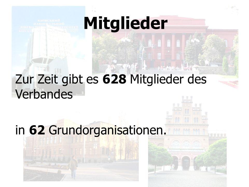 Mitglieder Zur Zeit gibt es 628 Mitglieder des Verbandes in 62 Grundorganisationen.