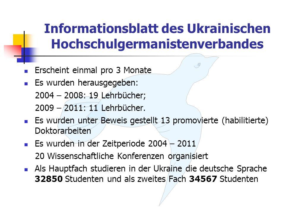 Informationsblatt des Ukrainischen Hochschulgermanistenverbandes Erscheint einmal pro 3 Monate Es wurden herausgegeben: 2004 – 2008: 19 Lehrbücher; 20