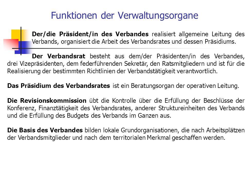 Funktionen der Verwaltungsorgane Der/die Präsident/in des Verbandes realisiert allgemeine Leitung des Verbands, organisiert die Arbeit des Verbandsrat