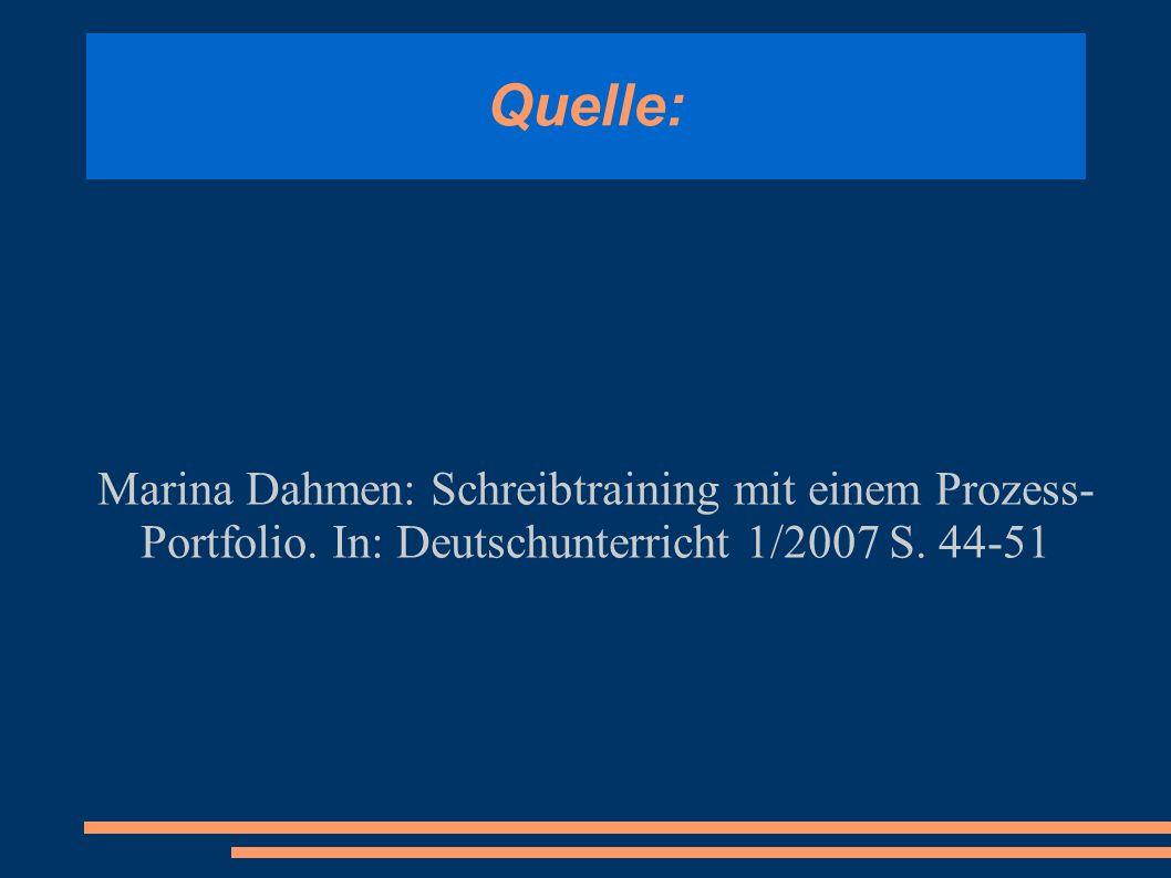 Quelle: Marina Dahmen: Schreibtraining mit einem Prozess- Portfolio. In: Deutschunterricht 1/2007 S. 44-51