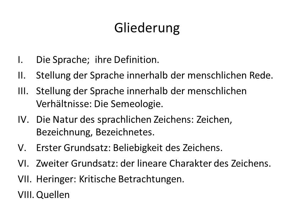 Gliederung I.Die Sprache; ihre Definition.II.Stellung der Sprache innerhalb der menschlichen Rede.