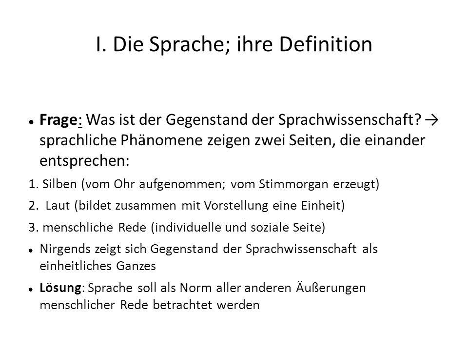I. Die Sprache; ihre Definition Frage: Was ist der Gegenstand der Sprachwissenschaft? sprachliche Phänomene zeigen zwei Seiten, die einander entsprech