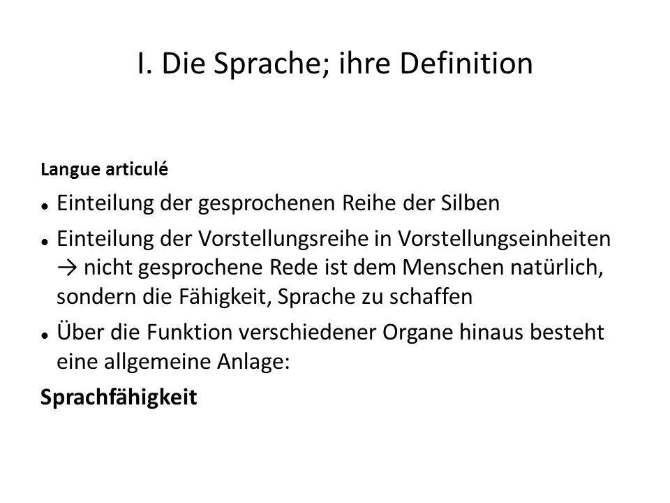 I. Die Sprache; ihre Definition Langue articulé Einteilung der gesprochenen Reihe der Silben Einteilung der Vorstellungsreihe in Vorstellungseinheiten