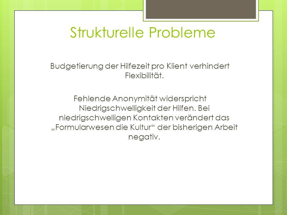 Strukturelle Probleme Budgetierung der Hilfezeit pro Klient verhindert Flexibilität. Fehlende Anonymität widerspricht Niedrigschwelligkeit der Hilfen.