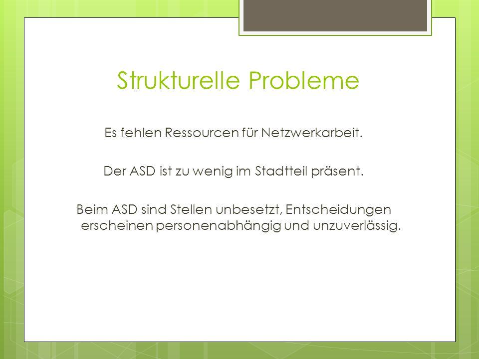 Strukturelle Probleme Es fehlen Ressourcen für Netzwerkarbeit. Der ASD ist zu wenig im Stadtteil präsent. Beim ASD sind Stellen unbesetzt, Entscheidun