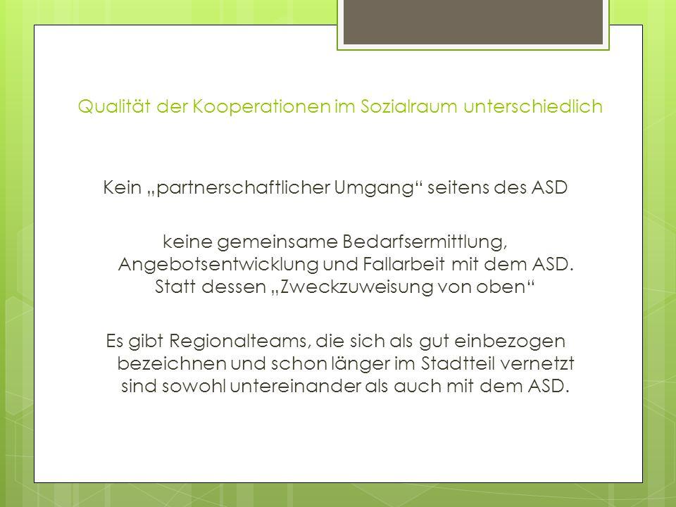 Qualität der Kooperationen im Sozialraum unterschiedlich Kein partnerschaftlicher Umgang seitens des ASD keine gemeinsame Bedarfsermittlung, Angebotse