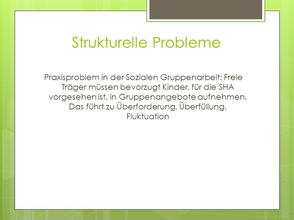 Strukturelle Probleme Praxisproblem in der Sozialen Gruppenarbeit: Freie Träger müssen bevorzugt Kinder, für die SHA vorgesehen ist, in Gruppenangebot