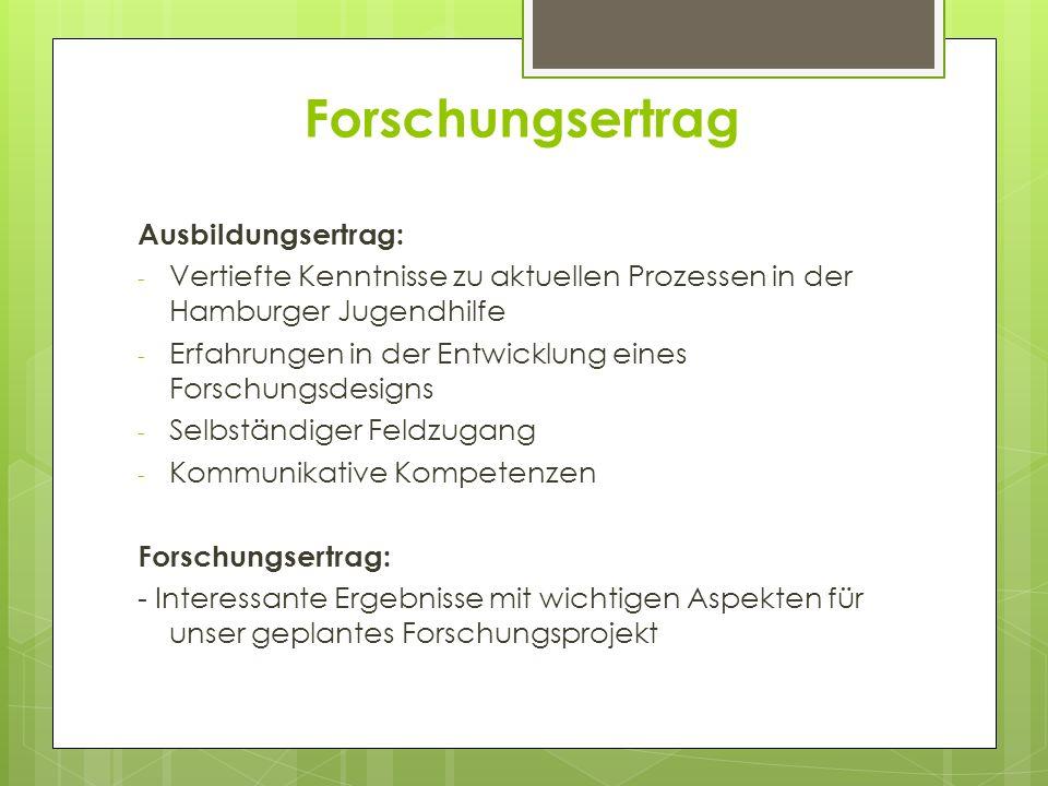 Forschungsertrag Ausbildungsertrag: - Vertiefte Kenntnisse zu aktuellen Prozessen in der Hamburger Jugendhilfe - Erfahrungen in der Entwicklung eines