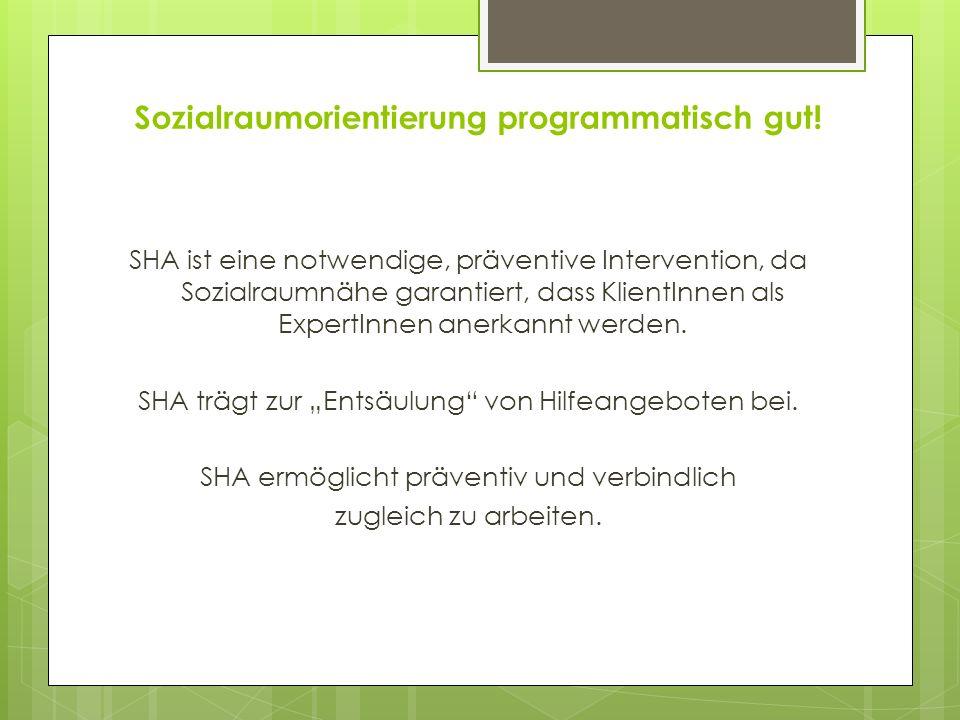 Sozialraumorientierung programmatisch gut! SHA ist eine notwendige, präventive Intervention, da Sozialraumnähe garantiert, dass KlientInnen als Expert