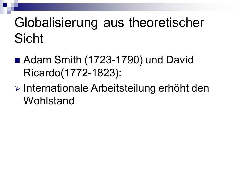 Globalisierung aus theoretischer Sicht Adam Smith (1723-1790) und David Ricardo(1772-1823): Internationale Arbeitsteilung erhöht den Wohlstand