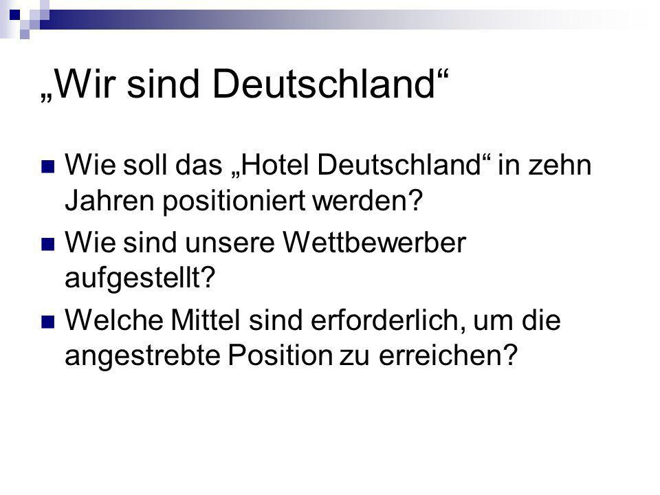 Wir sind Deutschland Wie soll das Hotel Deutschland in zehn Jahren positioniert werden.