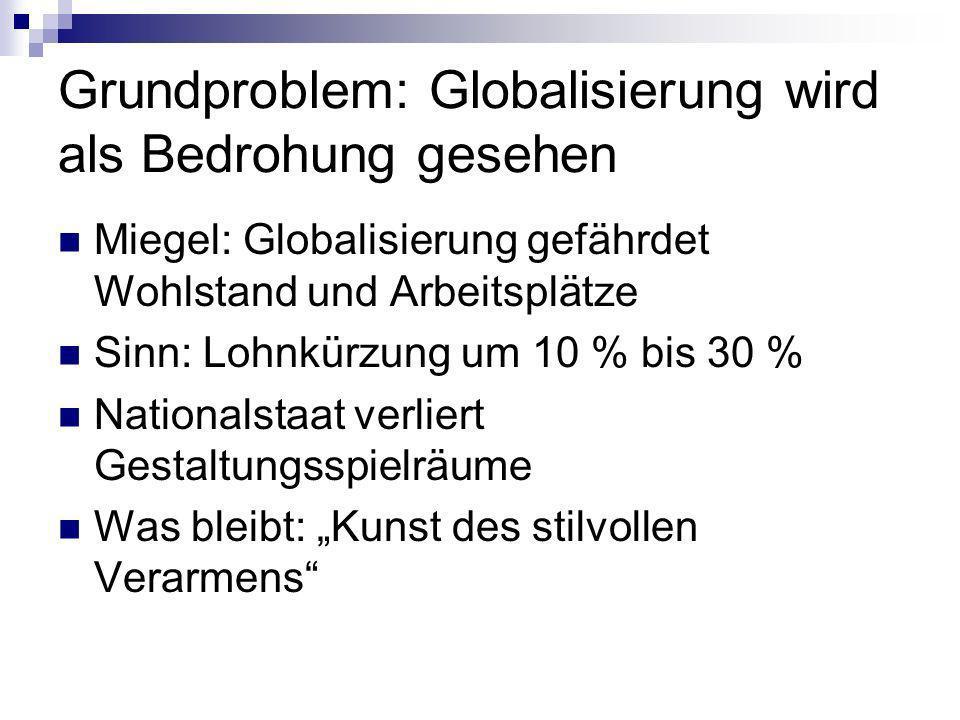 Grundproblem: Globalisierung wird als Bedrohung gesehen Miegel: Globalisierung gefährdet Wohlstand und Arbeitsplätze Sinn: Lohnkürzung um 10 % bis 30 % Nationalstaat verliert Gestaltungsspielräume Was bleibt: Kunst des stilvollen Verarmens