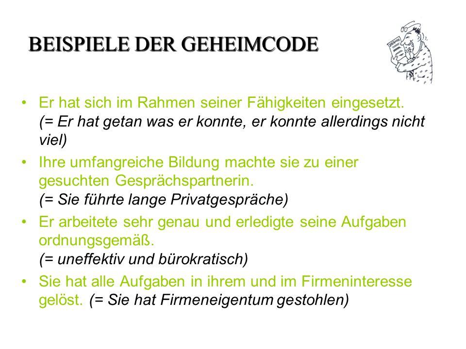 BEISPIELE DER GEHEIMCODE Er hat sich im Rahmen seiner Fähigkeiten eingesetzt.