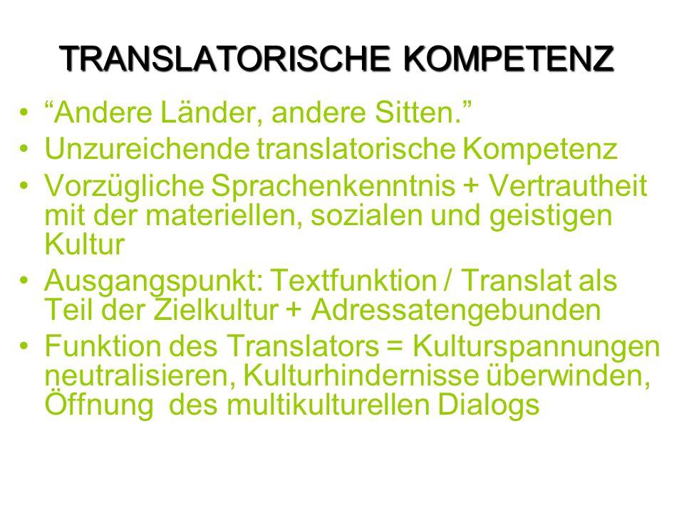 TRANSLATORISCHE KOMPETENZ Andere Länder, andere Sitten.