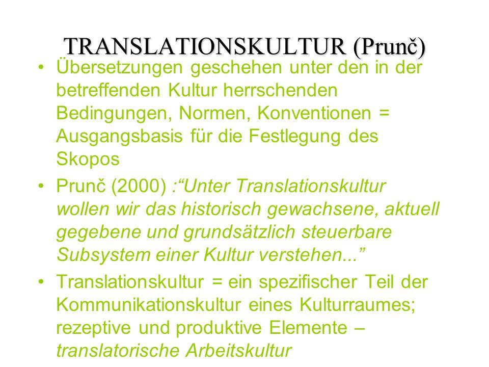 TRANSLATIONSKULTUR (Prunč) Übersetzungen geschehen unter den in der betreffenden Kultur herrschenden Bedingungen, Normen, Konventionen = Ausgangsbasis für die Festlegung des Skopos Prunč (2000) :Unter Translationskultur wollen wir das historisch gewachsene, aktuell gegebene und grundsätzlich steuerbare Subsystem einer Kultur verstehen...