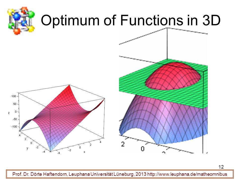 Optimum of Functions in 3D Prof. Dr. Dörte Haftendorn, Leuphana Universität Lüneburg, 2013 http://www.leuphana.de/matheomnibus 12