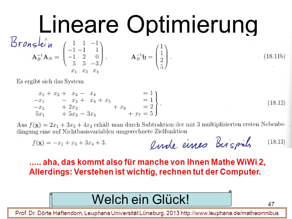 Lineare Optimierung Prof.Dr.
