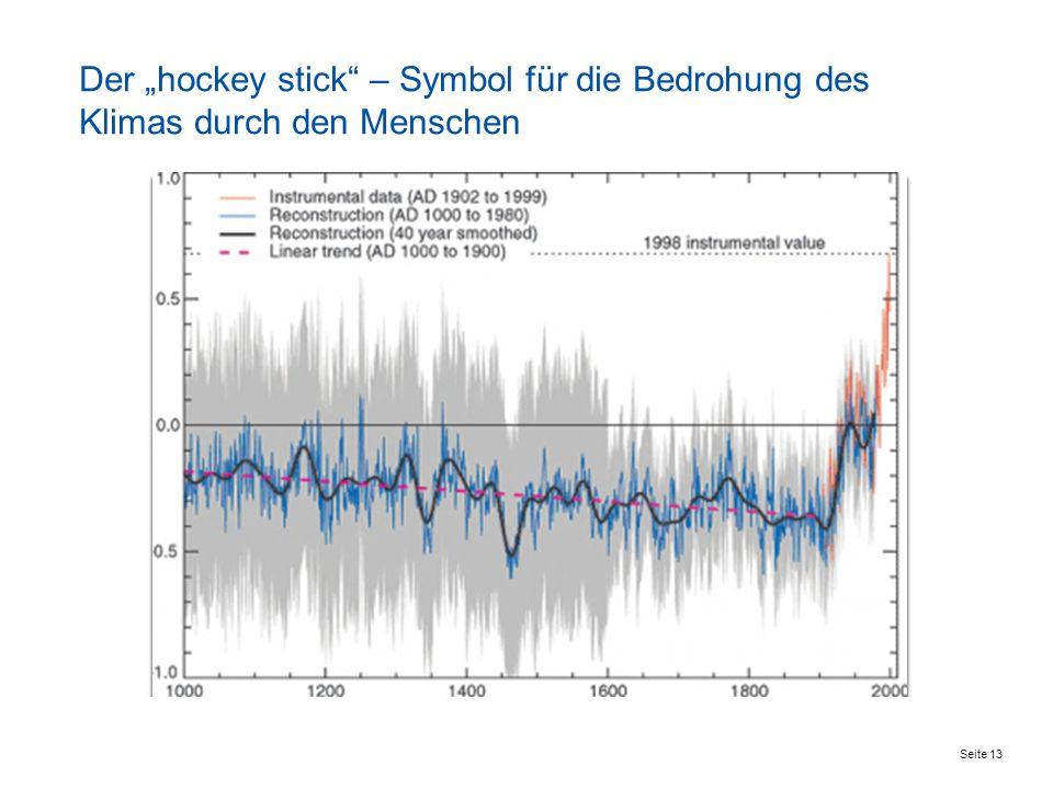 Seite 13 Der hockey stick – Symbol für die Bedrohung des Klimas durch den Menschen