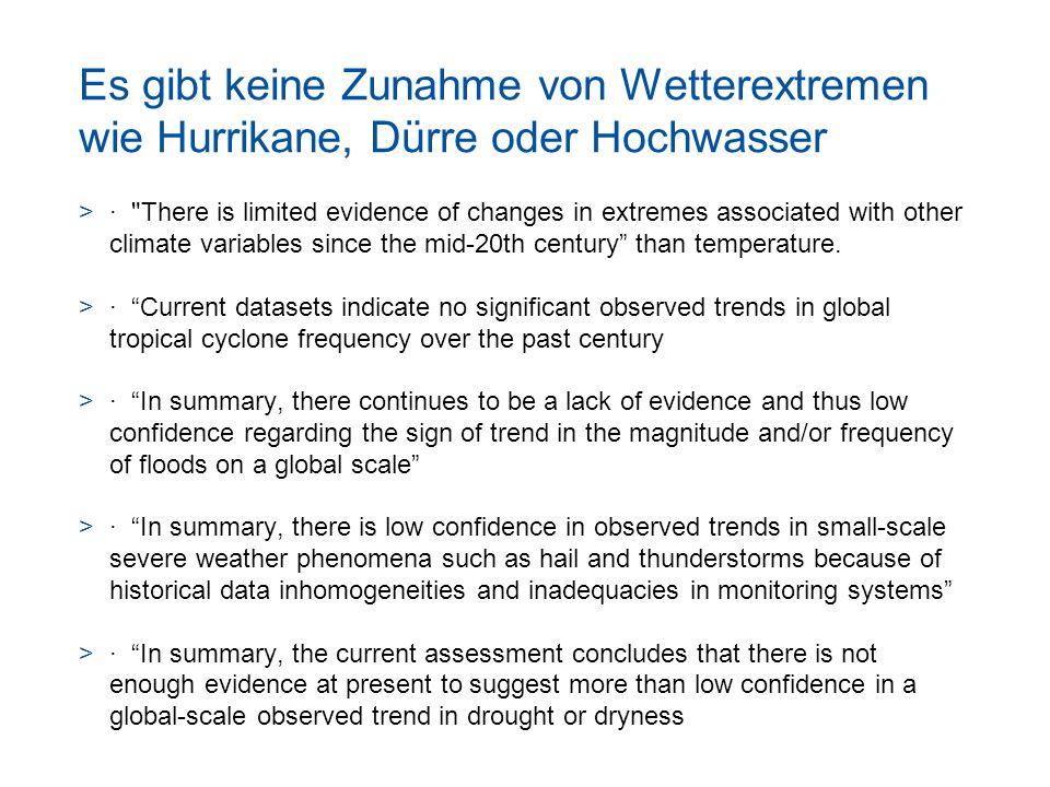 Es gibt keine Zunahme von Wetterextremen wie Hurrikane, Dürre oder Hochwasser >·