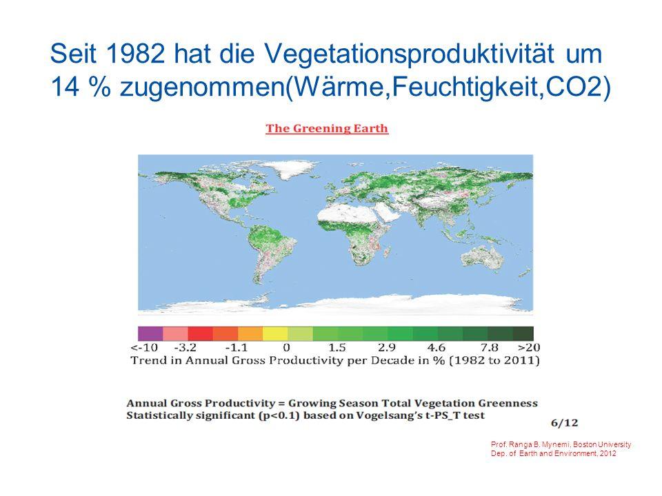 Seit 1982 hat die Vegetationsproduktivität um 14 % zugenommen(Wärme,Feuchtigkeit,CO2) (Wärme,Feuchtigkeit,CO2) Prof.