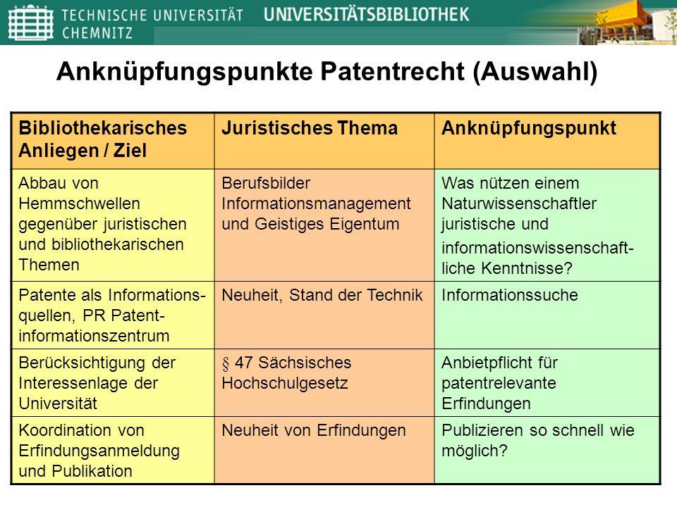 Anknüpfungspunkte Patentrecht (Auswahl) Bibliothekarisches Anliegen / Ziel Juristisches ThemaAnknüpfungspunkt Abbau von Hemmschwellen gegenüber jurist