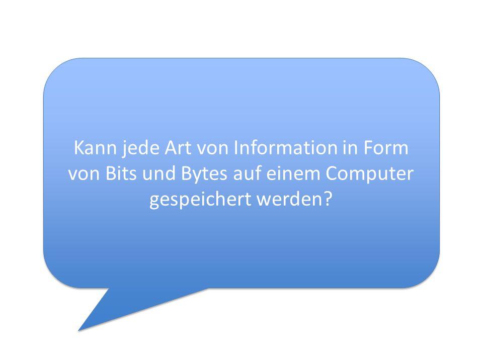 Kann jede Art von Information in Form von Bits und Bytes auf einem Computer gespeichert werden?