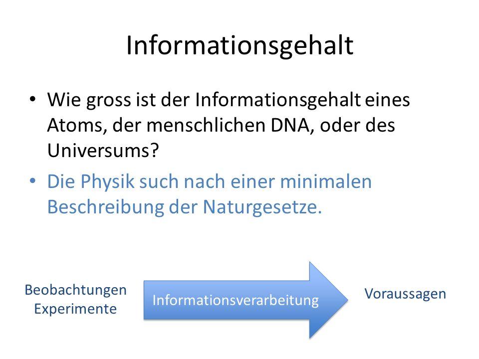 Informationsgehalt Wie gross ist der Informationsgehalt eines Atoms, der menschlichen DNA, oder des Universums? Die Physik such nach einer minimalen B