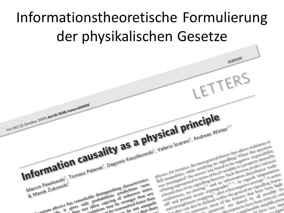 Informationstheoretische Formulierung der physikalischen Gesetze