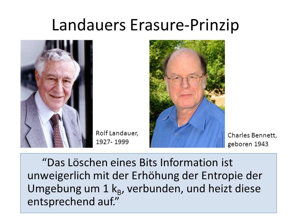 Landauers Erasure-Prinzip Das Löschen eines Bits Information ist unweigerlich mit der Erhöhung der Entropie der Umgebung um 1 k B, verbunden, und heiz