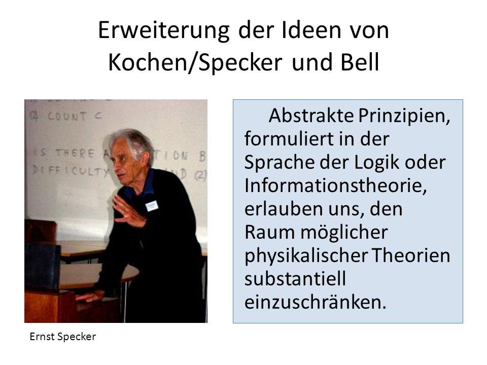 Erweiterung der Ideen von Kochen/Specker und Bell Abstrakte Prinzipien, formuliert in der Sprache der Logik oder Informationstheorie, erlauben uns, de