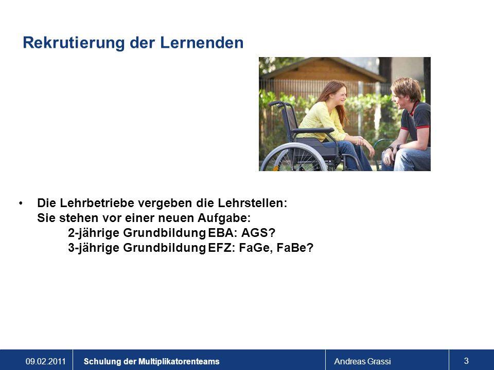 09.02.2011Andreas Grassi 14 Schulung der Multiplikatorenteams Fördern und unterstützen in der Praxis Ruhige, sorgfältige Einführung in die Berufspraxis – die Lernenden beobachten.