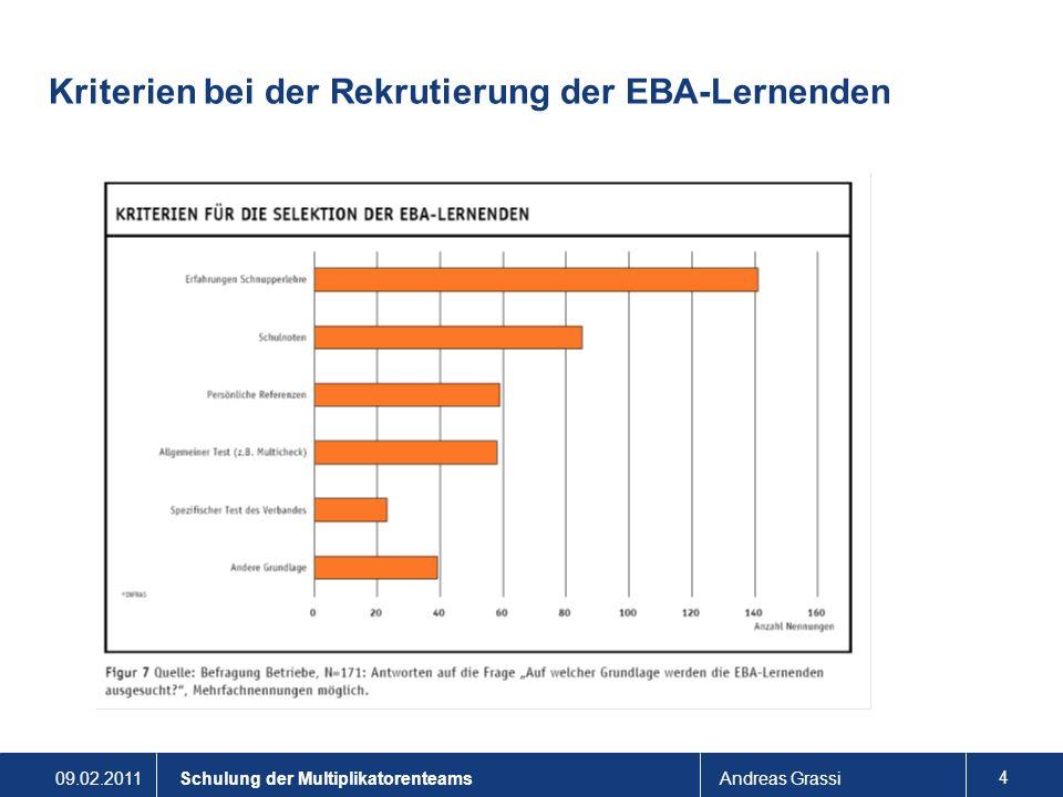 09.02.2011Andreas Grassi 5 Schulung der Multiplikatorenteams Rekrutierung der Lernenden Vertragsabschluss: Im Zweifelsfall Aufstieg.