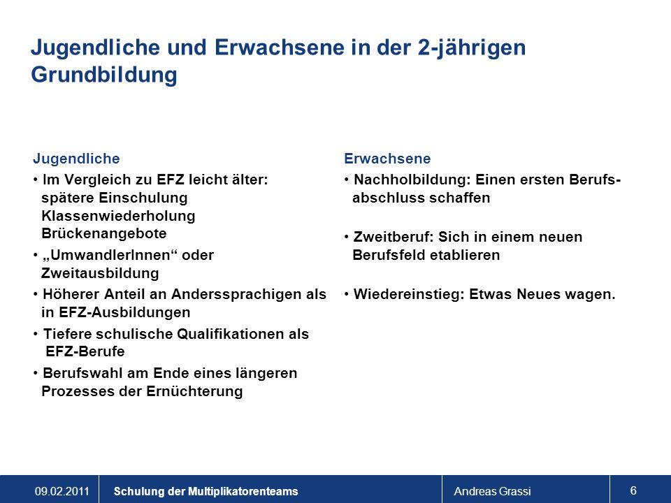 09.02.2011Andreas Grassi 7 Schulung der Multiplikatorenteams Entwicklungsaufgaben Jugendlicher (Register G, S.2) Übergang obligat.