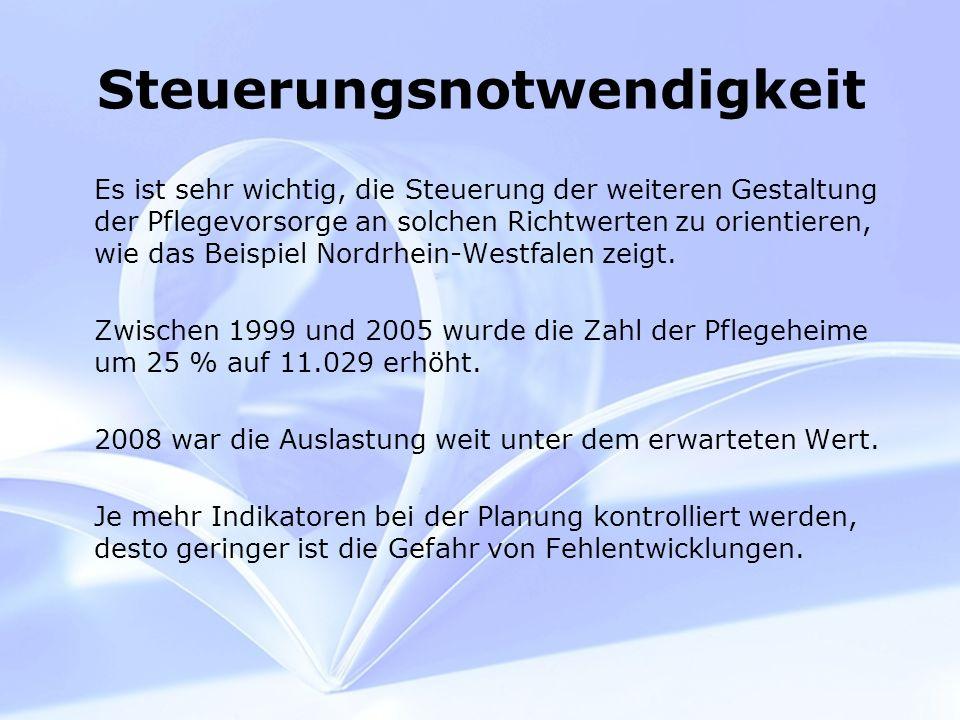 Steuerungsnotwendigkeit Es ist sehr wichtig, die Steuerung der weiteren Gestaltung der Pflegevorsorge an solchen Richtwerten zu orientieren, wie das Beispiel Nordrhein-Westfalen zeigt.