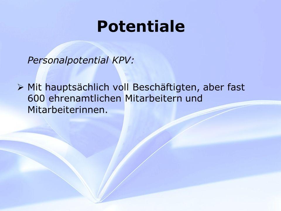 Potentiale Personalpotential KPV: Mit hauptsächlich voll Beschäftigten, aber fast 600 ehrenamtlichen Mitarbeitern und Mitarbeiterinnen.