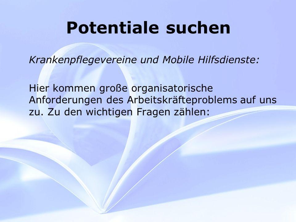 Potentiale suchen Krankenpflegevereine und Mobile Hilfsdienste: Hier kommen große organisatorische Anforderungen des Arbeitskräfteproblems auf uns zu.