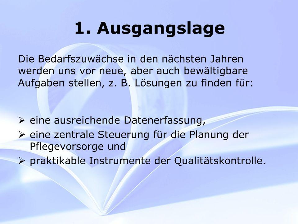 1. Ausgangslage eine ausreichende Datenerfassung, eine zentrale Steuerung für die Planung der Pflegevorsorge und praktikable Instrumente der Qualitäts