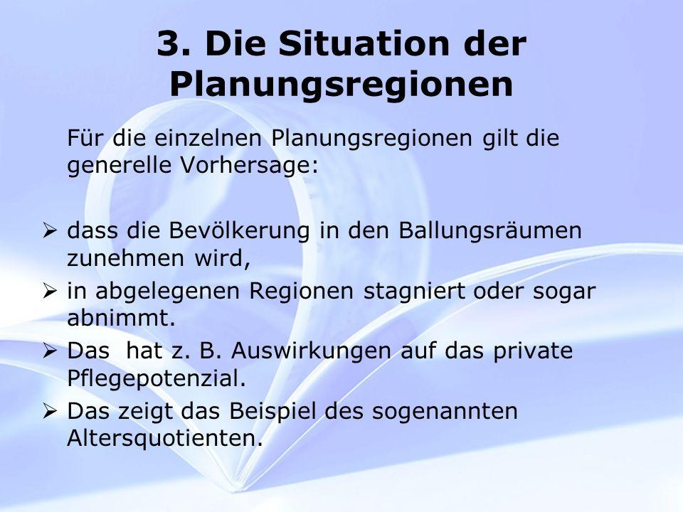 3. Die Situation der Planungsregionen Für die einzelnen Planungsregionen gilt die generelle Vorhersage: dass die Bevölkerung in den Ballungsräumen zun