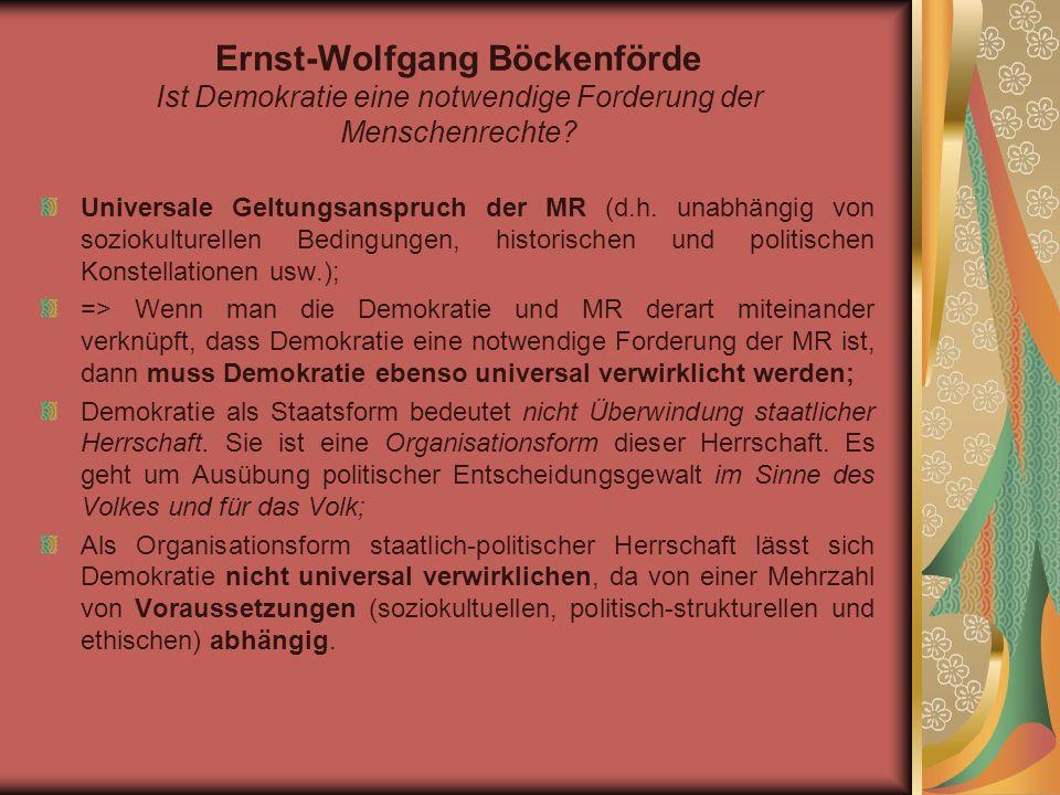 Ingeborg Maus Menschenrechte als Ermächtigungsnormen internationaler Politik oder: der zerstörte Zusammenhang von MR und Demokratie II.