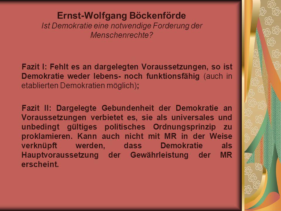 Ingeborg Maus Menschenrechte als Ermächtigungsnormen internationaler Politik oder: der zerstörte Zusammenhang von MR und Demokratie III.