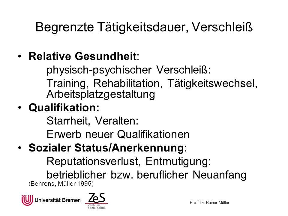 Begrenzte Tätigkeitsdauer, Verschleiß Relative Gesundheit: physisch-psychischer Verschleiß: Training, Rehabilitation, Tätigkeitswechsel, Arbeitsplatzg