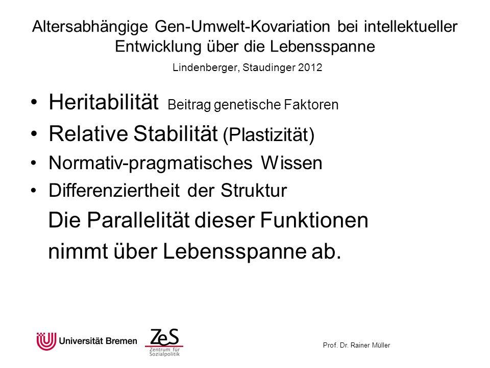 Prof. Dr. Rainer Müller Altersabhängige Gen-Umwelt-Kovariation bei intellektueller Entwicklung über die Lebensspanne Lindenberger, Staudinger 2012 Her