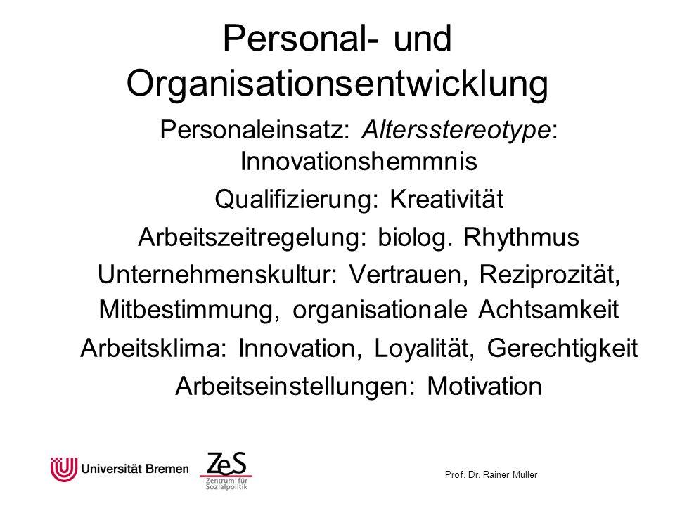 Prof. Dr. Rainer Müller Personal- und Organisationsentwicklung Personaleinsatz: Altersstereotype: Innovationshemmnis Qualifizierung: Kreativität Arbei