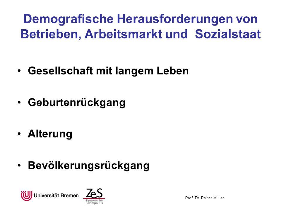 Prof. Dr. Rainer Müller Demografische Herausforderungen von Betrieben, Arbeitsmarkt und Sozialstaat Gesellschaft mit langem Leben Geburtenrückgang Alt