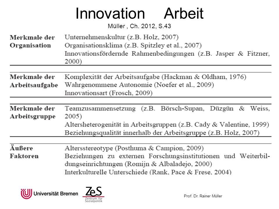 Prof. Dr. Rainer Müller Innovation Arbeit Müller, Ch. 2012, S.43